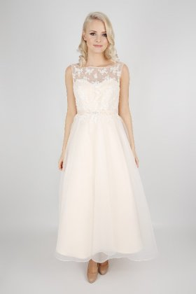 EB7491 tea length bridesmaid dress front