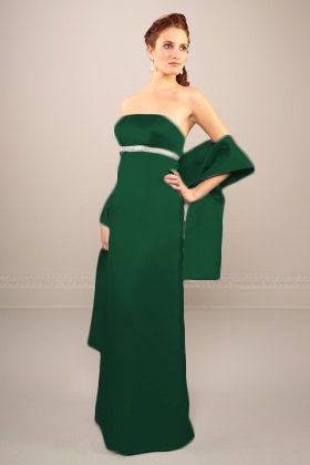 Forest green/ivory bridesmaid dress - front